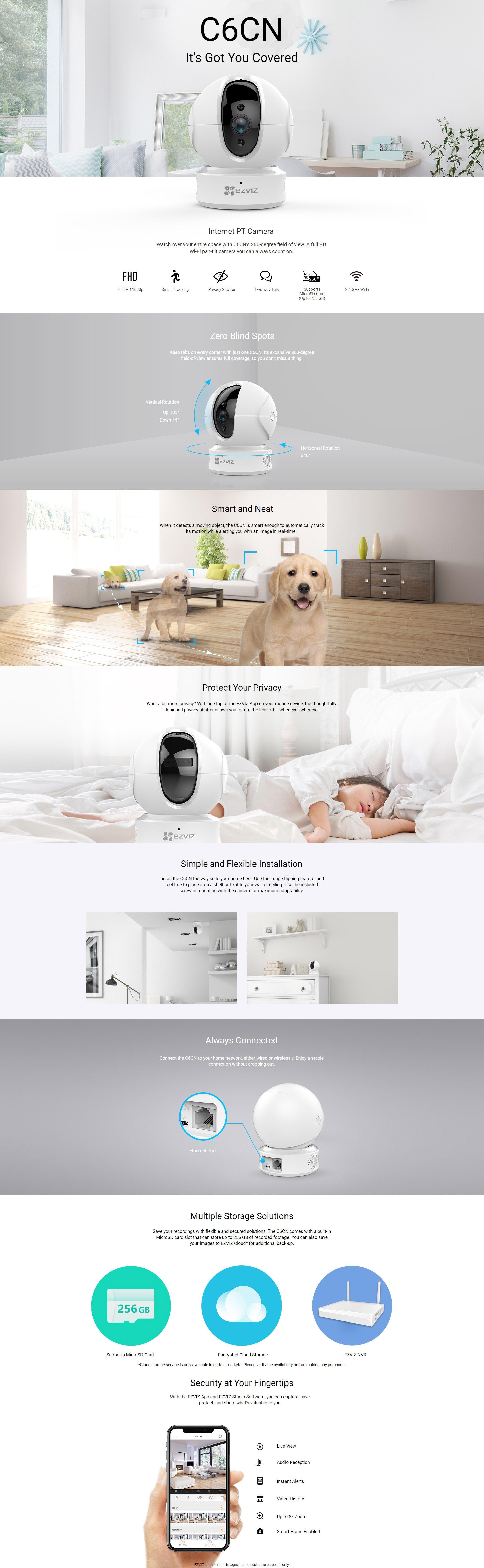 EZVIZ C6CN 1080P Full HD Resolution Pan & Tilt Wireless Security Camera
