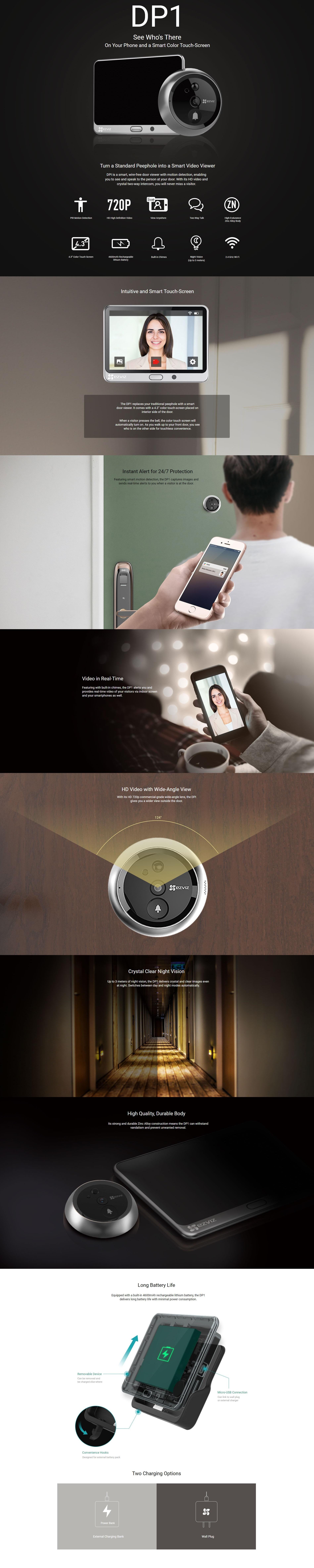 EZVIZ DP1 HD 720P Video Smart Home Door Viewer with Rechargeable Battery